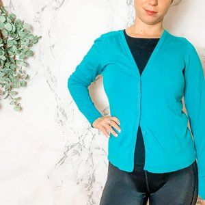 LOFT Turquoise Cardigan M